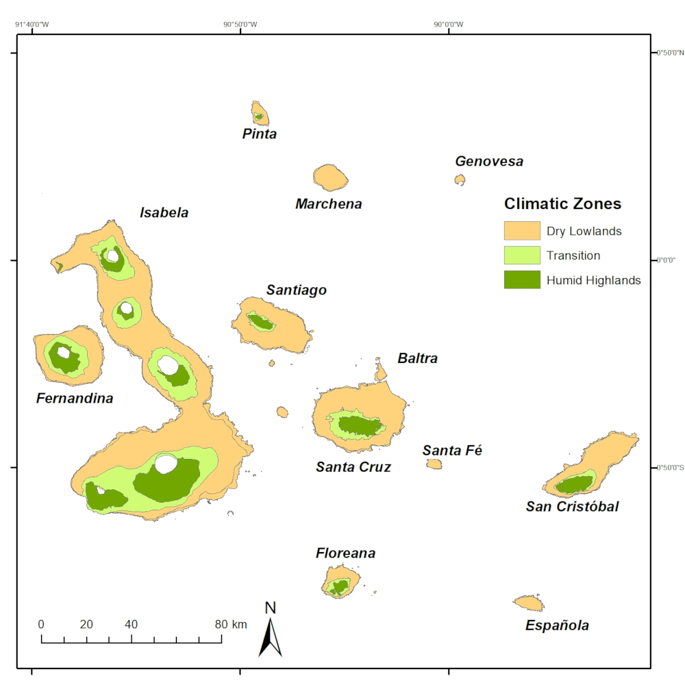 The climatic zones in Galapagos