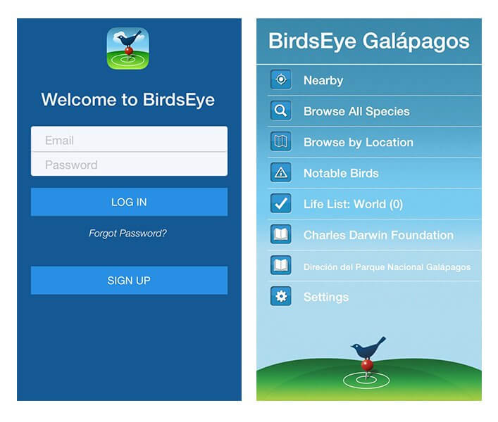 The BirdsEye welcome screens.