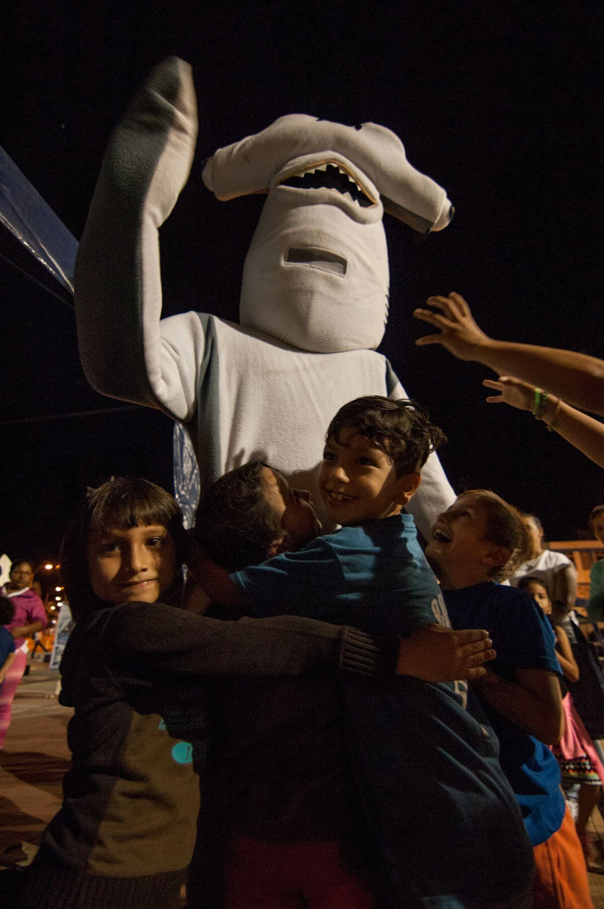 Guillo The Hammerhead Shark and kids.
