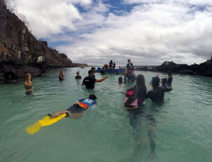 CDF team, Galapagos Evolution, and students watching white tip sharks.