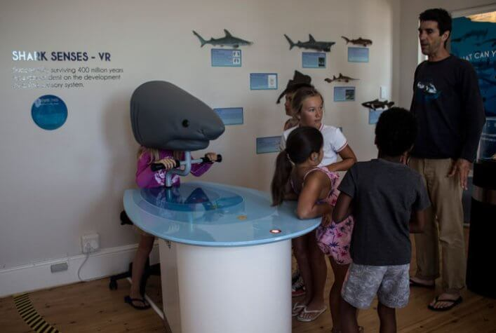 Paul, educator of the centre, explaining the children of the holiday club how one of the interactive games that teaches the public about the senses of the sharks works.