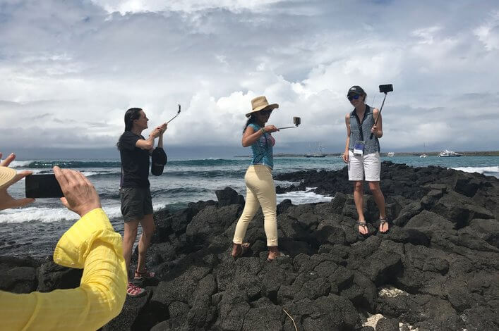Carolyn and participants of the bootcamp filming videos in the Ratonera beach at the CDRS.