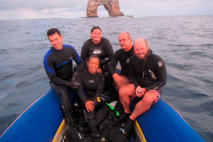 Scientific team in the north of the Galapagos.