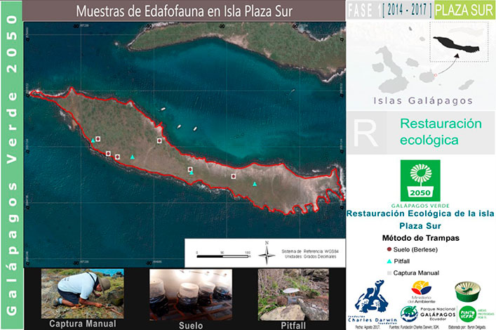 Mapping the distribution of traps on Plaza Sur Island.