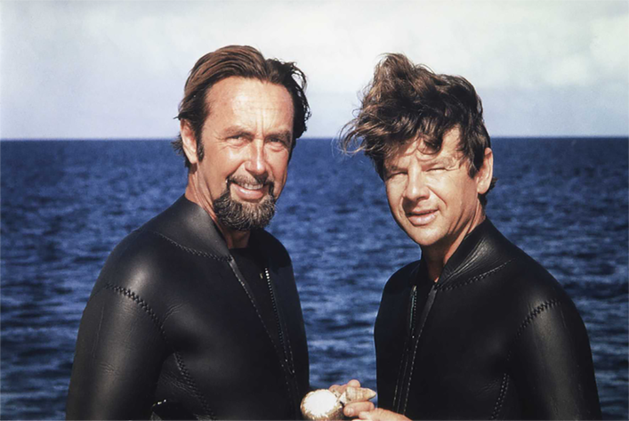 Irenäus Eibl-Eibesfeldt (right) and Hans Hass (left). Hans Hass was a diving pioneer who led the first Xarifa Expedition.