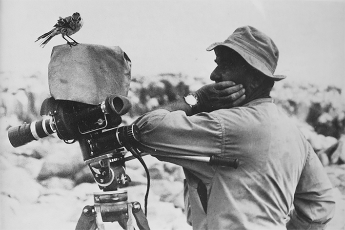 A Hood mocking bird sitting on Eugen Schuhmacher's camera during the Xarifa-Expedition.
