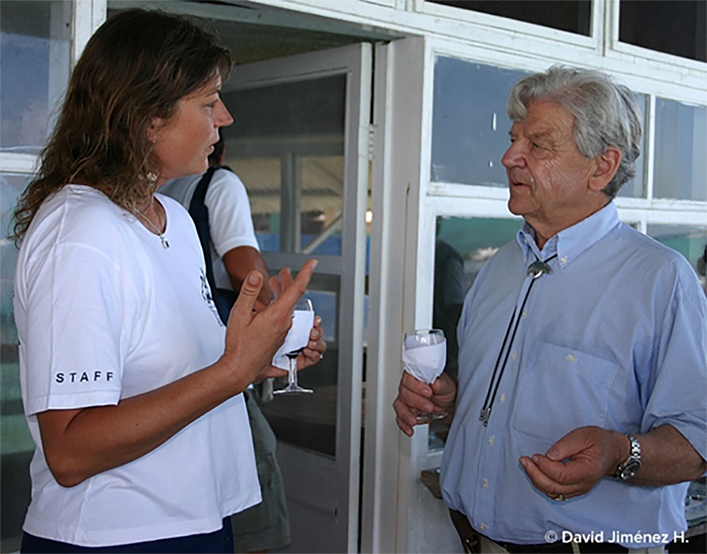 Dr. Eibl-Eibesfeldt (right) and Dr. Heinke Jäger (left), speaking at the 45th anniversary of the creation of the Galapagos National Park and the Charles Darwin Foundation in 2004. He was a life-long supporter of CDF's conservation efforts.