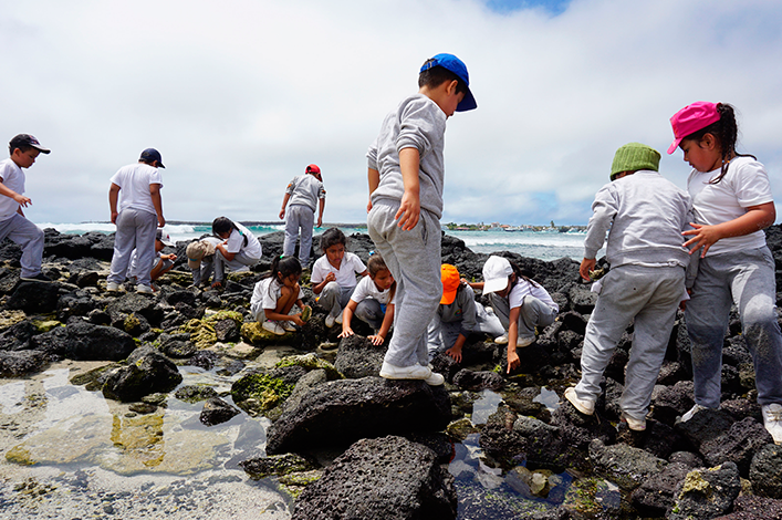 Students of the Oswaldo Guayasamín school of Santa Cruz exploring rocky shores  in La Ratonera beach