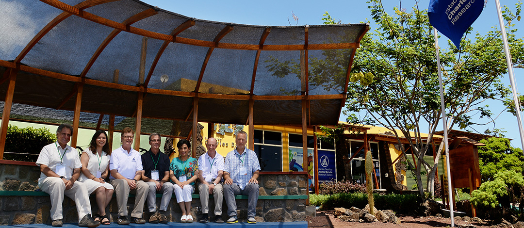 Charles Darwin Foundation Board of Directors, Santa Cruz - Galapagos. From left to right: Dr. Alfredo Carrasco Valdivieso; Pamela Rocha (Ministry of Foreign Affairs of Ecuador- representative); Dennis Geist (retired President);Darrel Schoeling; Gabriela Sommerfeld; Hans van Poelvoorde (CDF President); Paul Baker. Not pictured: Ronnie Stewart and William Sutherland