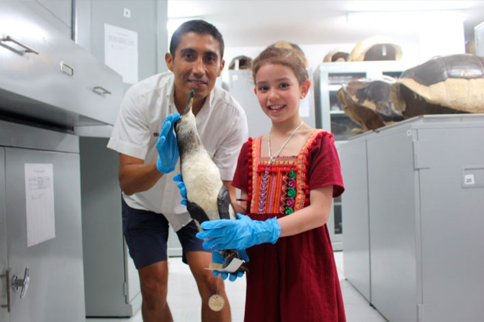 Sophie and Gustavo Jimenez, Senior Researcher, at the Charles Darwin Collections Room