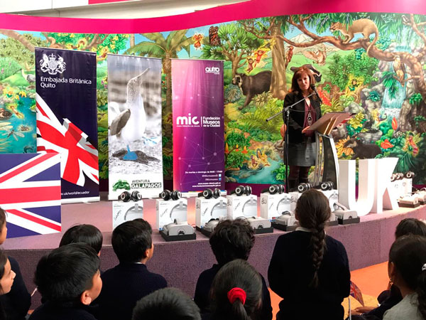 Ambassador Katherine Ward of the British Embassy in Quito, during the inauguration of Aventura Galápagos at the Interactive Science Museum in Quito