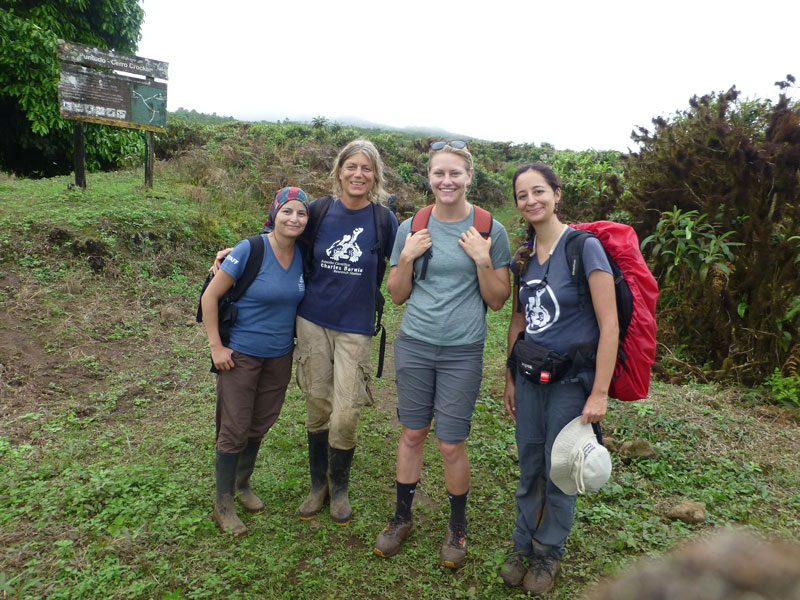"Members of the CDF Terrestrial Invasive Species Team at the mowed ""buffer zone"" at the entrance to the Galapagos National Park at Media Luna. To the right, native vegetation; to the left, cattle pasture. From right to left: Ana Torres, Heinke Jäger, Clare Peabody, Carolina Carrión"