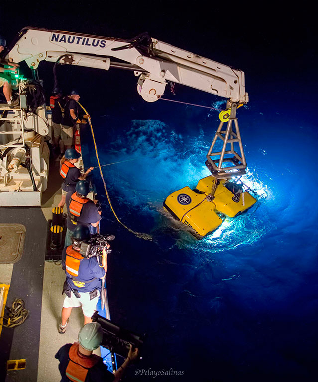 ROV Hercules is launched to explore the deep sea around the Galapagos Islands. Credit: Ocean Exploration Trust/Nautilus Live.