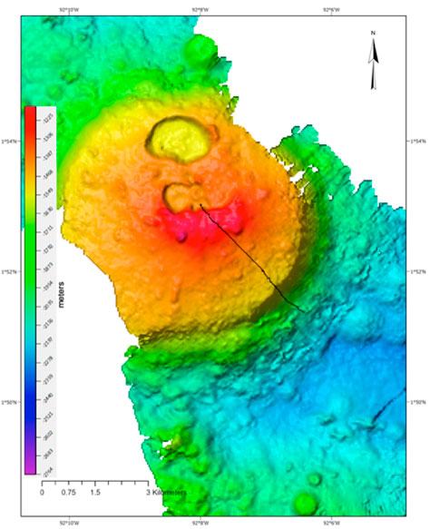 A newly mapped seamount and ROV traverse (black line) between 2000 and 1000 m depth. Credit: Ocean Exploration Trust/Nautilus Live.