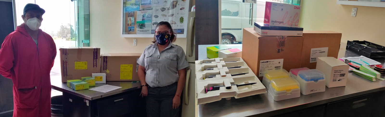 Donation made possible by Kristin Hettermann and Sven Lindblad arriving at the Galapagos Biosecurity Agency office in Puerto Ayora, Galapagos.