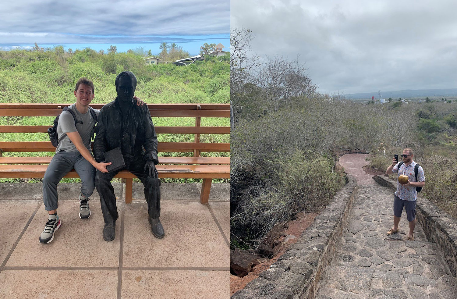 Right: Jack with Charles Darwin Statue, Left: Randy outside Tortuga Bay.