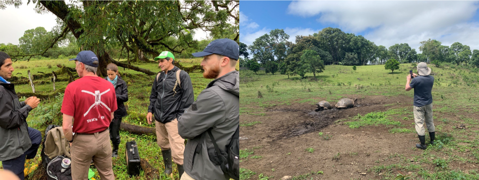 Left: Freddy, Dr. Blake, Ainoa, Jose, and Randy discussing how to feed the tortoises iButton thermochrons. Right: Randy taking FLIR temperature images of the tortoises.