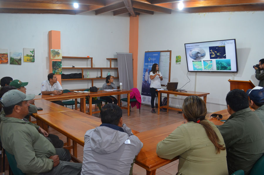 Workshop with park rangers from Puerto Villamil, Isabela Island.