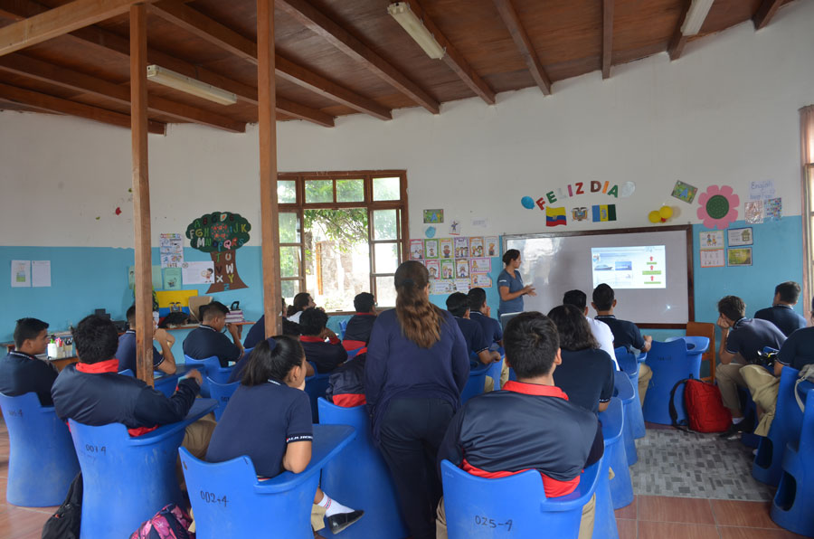 Lecture at a local school in Puerto Villamil, Isla Isabela