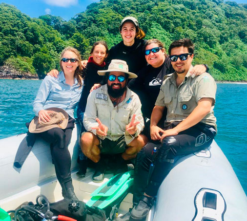 Monitoring team 2019, (left to right) Gail Ashton, Sofía Green, Esther Saborio, Inti Keith, Josué Morales, Geiner Golfín, Coco Island-Costa Rica. Photo by Keylor Morales Panigua