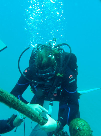 Inti Keith attaching settlement plate to mooring buoy. Photo by Geiner Golfin.