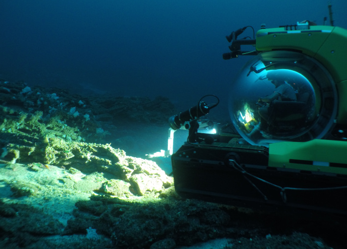 Deep Rover submersible taking a sample during the exploration of the seamount benthos.