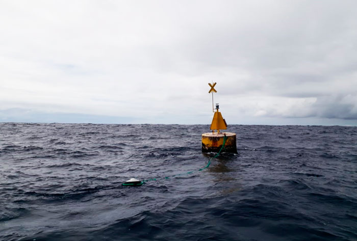 Fishing Aggregating Devices with a satellite buoy attached that calculates the amount of fishes at different depths.